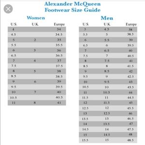 alexander mcqueen size chart